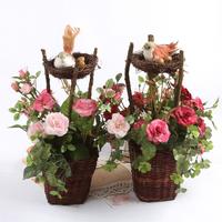 Pastoral European INS Bird Nest Artificial Rose Flower Wedding Home Decor