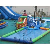 Large ground kids and adults backyard inflatable water park