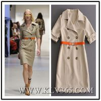 High Quality Designer Clothing Women Fashion Double Breasted Belted Midi Trench Dress