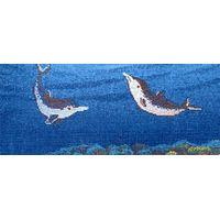 swimming pool glass mosaic dolphin medallion thumbnail image