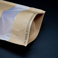 Compostable Packaging 100% Eco-friendly Food Packaging Paper bags with Window Ziplock thumbnail image