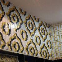 Velvet Bianco JY-P-V01 Bisazza Mosaic Pattern Golden Black and White Glass Mosaic Backsplash T thumbnail image