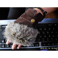 Fingerless leather glove