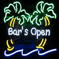 Real Glass Bar open neon sign