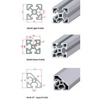 40x40 Industrial Aluminium Profile(Heavy & Light & Angled)