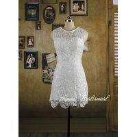 White Lace Short Pencil Dress, Bridesmaid Dress, Reception Dress thumbnail image