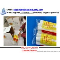 factory supply Fluted paraffin wax white stick candle