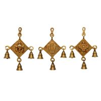 Brass Shankh Chakra Namah Wall Hanging Three Bell Set