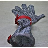 extended 15cm stainless steel welded mesh anti cut glove for meat processing butcher glove