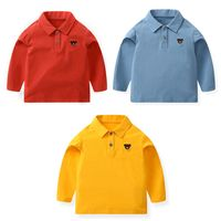 High quality boys shirt cotton long sleeve kids polo shirt thumbnail image
