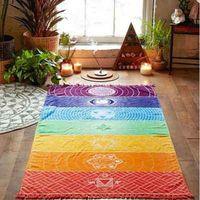1Pcs Tassels Single Rainbow Chakra Tapestry Towel Mandala Boho Stripes Travel Yoga Mat Tapestry thumbnail image