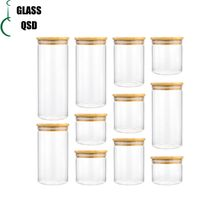 Cylinder Sealed Air Tight Glass Pickle Jar With Bamboo Lid For Storage thumbnail image