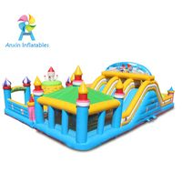 inflatable maze bouncer castle, inflatable bouncer with small slide for kids, inflatable playing hou thumbnail image