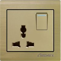 aluminium universal 10A250V wall socket