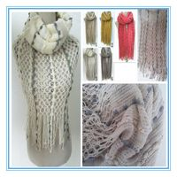 PG1211 100%acrylic women's long scarf and loop double used neck warmer