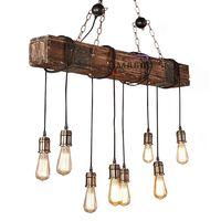 Retro vintage chandelier long wood lighting pendant lamp thumbnail image