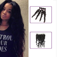 [9A]4 Bundles Brazilian Hair Weave Loose Wave with 360 Lace frontal