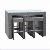Rattan Bar Set with 8mm Clean Tempered Glass, Measures 1,450 x 750 x 1,050mm