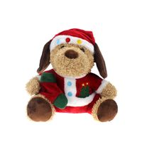 Stuffed Plush Christmas Toy Dog With Santa Hat Factory