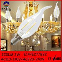 Bent tip candle light 2W LED filament light bulbs