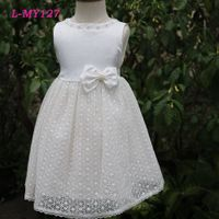 Elegant white lace flower girls wedding dress with pearl latest children dress designs kids wear bab thumbnail image
