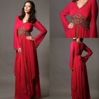 2014 New Design Red Chiffon A line V Neck Arabic Kaftan Dubai Long Sleeves Floor Length Long Evening