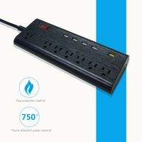 US type 7 way usb extension socket 125v 13a with FC3.0 fast usb charger port surge protection thumbnail image
