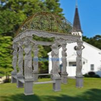 Stone built pillar gazebos with wrought iron dome, outdoor stone gazebos with marble sculptures