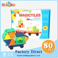 80 pcs 2017 Magnetic tiles deluxe 3d puzzle diy toy building magnetic block toys for kids educationa