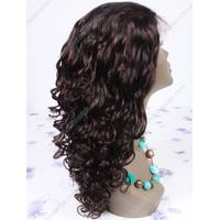 Highlights Black 1B/33# Long 18 inch Tight Curl Human Hair Full Lace Wigs