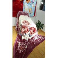 100% Polyester Flower Print Raschel Fleece Blanket