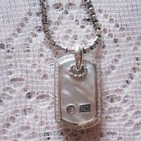 Sterling Silver Jewelry Mother of Pearl Dog Tag (M-013) thumbnail image