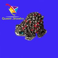 Classic Fashion Animal Vintage Ring shiny red rhinestone Frog prince Ring Size Q