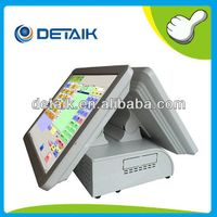 DTK-POS1578F Dual 15 inch All in One POS Terminal / Supermarket POS System / Cash Register