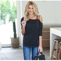Loose casual short t-shirts for women with one shoulder in sexy cotton Sleeve T-shirt thumbnail image
