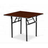 Square Wooden Top Folding Table For Restaurant Dinning Room Banquet