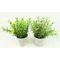 Artificial herb in grey pot home decor