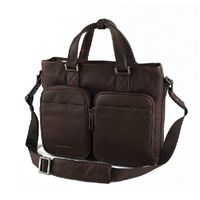 Genuine high-capacity multi-function leather men handbag business man bag retro leather briefcase