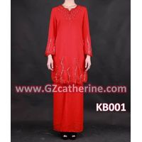 Latest Fashion Long Sleeves Red Beaded Baju Kurung Kaftan thumbnail image
