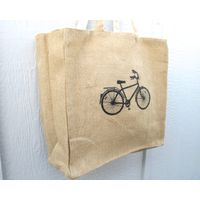 Tote Bag, Bicycle Tote Bag, Jute Tote Bag, Cotton Lining, Reversible Tote Bag, Screen Printed Tote B