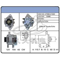 Toyota Echo auto car parts 12V remanufacture alternator from Hebei JiuJiu thumbnail image