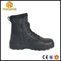 high cut leather brown desert tactical boots with side zipper