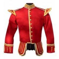 RED PIPE BAND DOUBLET GOLD PIPING GOLD THISTLE BUTTONS