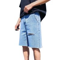 men's blue wash fashion loose fit ripped denim jeans shorts for men 2019