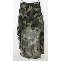 Ladies polyester georgette camouflage print high-low skirt thumbnail image