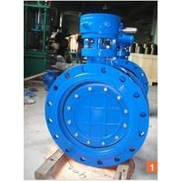 BS EN593 Resilient Seated flanged Double Eccentric Butterfly Valve with gearbox and handwheel
