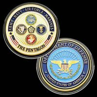 U.S Pentagon Colorful & 24KT GP Challenge coin 96
