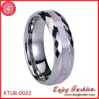 Pink Shell Inlay Tungsten Ring, Wedding Ring, Tungsten Ring Wholesale