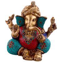 Turquoise Lord Ganesha Wearing Turbon Brass Metal Figure thumbnail image
