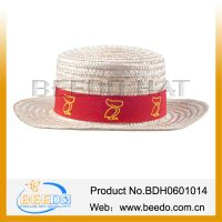 High quality fashion men summer wheat straw hat with flat top